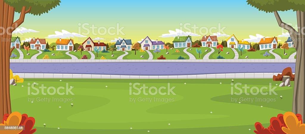 Colorful houses in suburb neighborhood vector art illustration