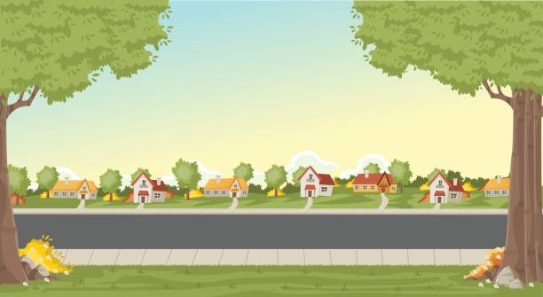 colorful houses in suburb neighborhood. - suburbs stock illustrations