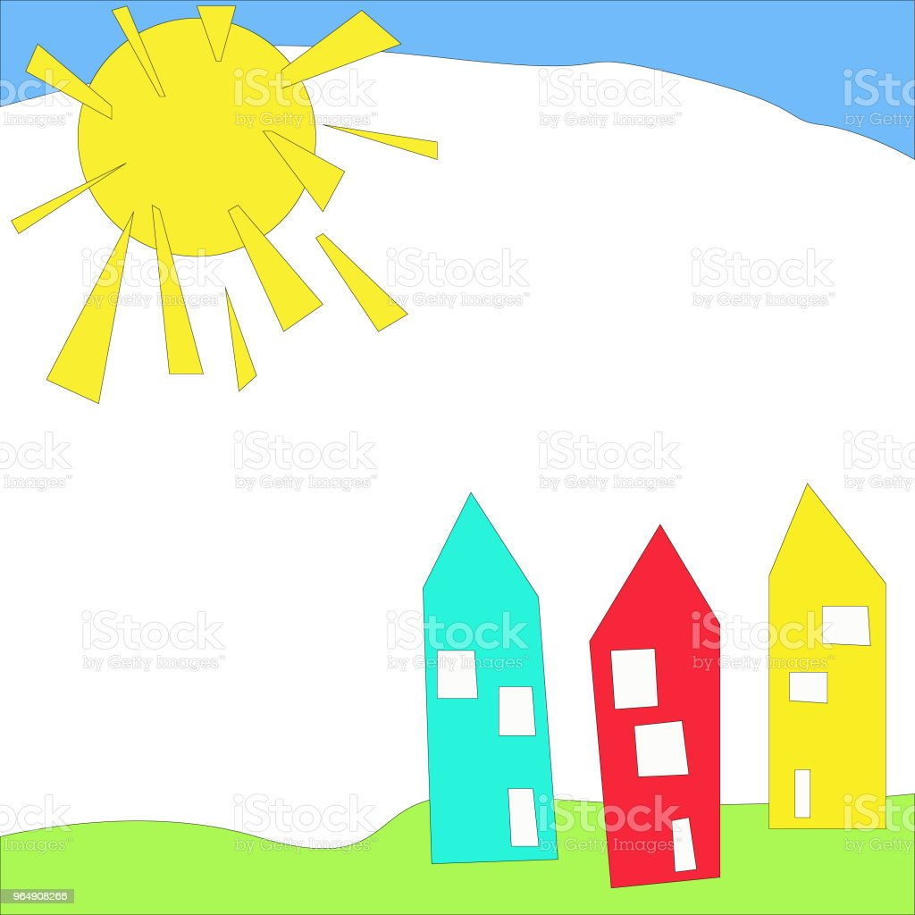 colorful houses under blue skies and sun royalty-free colorful houses under blue skies and sun stock vector art & more images of abstract
