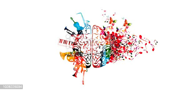 istock Colorful human brain with music notes and instruments 1028225034