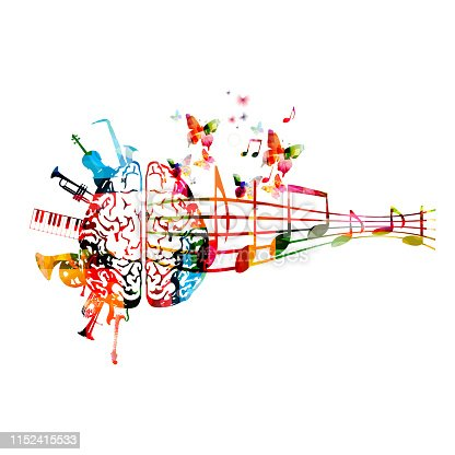 Colorful human brain with music notes and instruments isolated vector illustration design. Artistic music festival poster, live concert events, party flyer