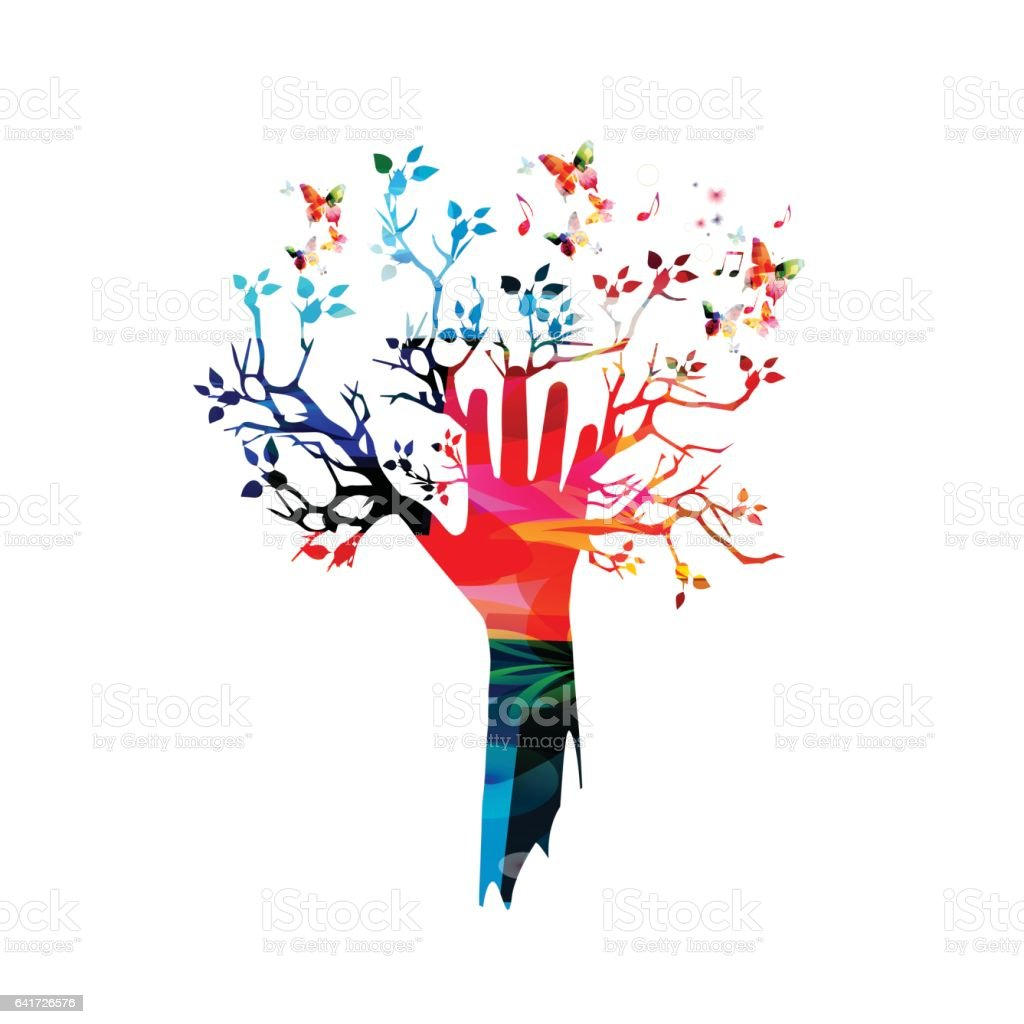 Colorful human hand with tree and butterflies vector illustration vector art illustration