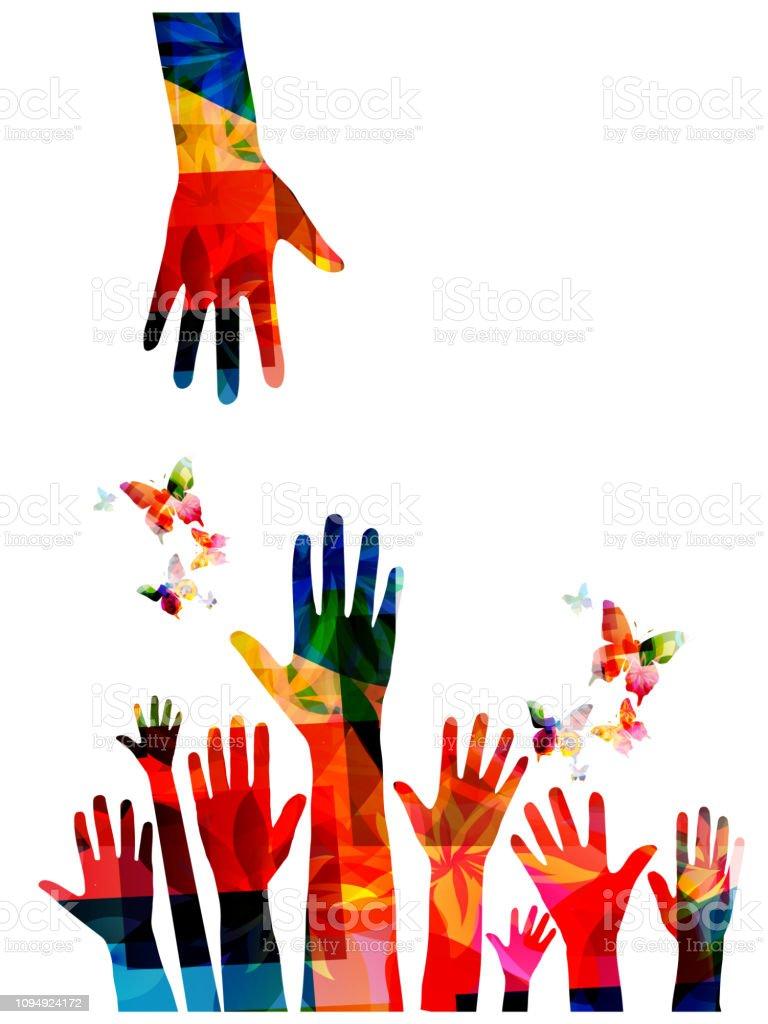 Kleurrijke mensenhanden met vlinders vector illustratie ontwerp - Royalty-free Alleen kinderen vectorkunst