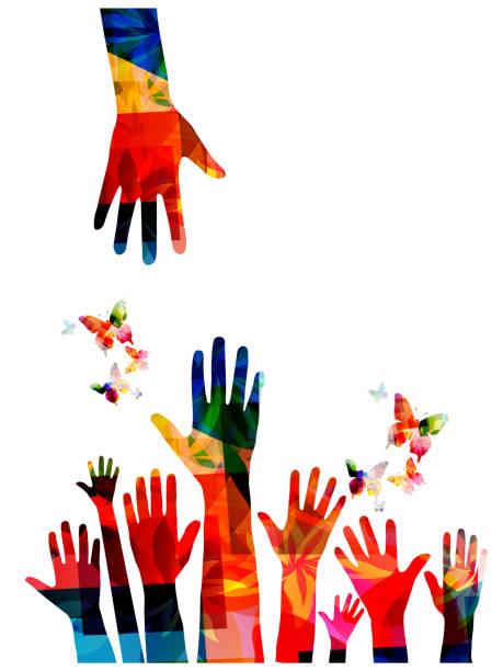 다채로운 인간의 손에 나비 벡터 일러스트 레이 션 디자인 - 개념 stock illustrations