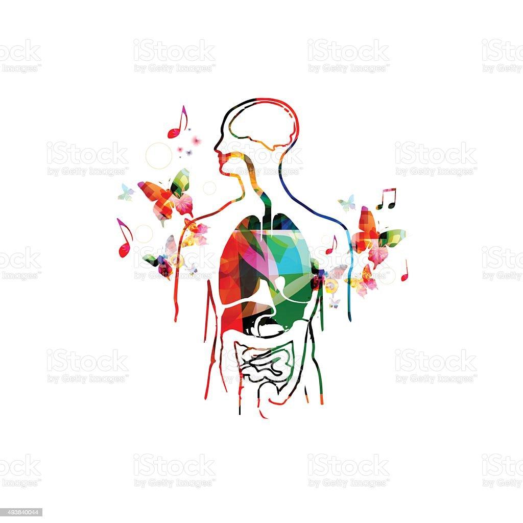 Colorful human organs design vector art illustration