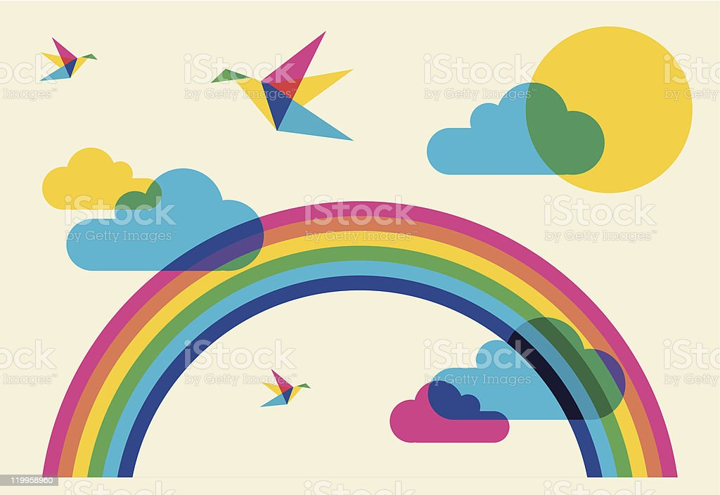 Colorful humming birds and rainbow vector art illustration