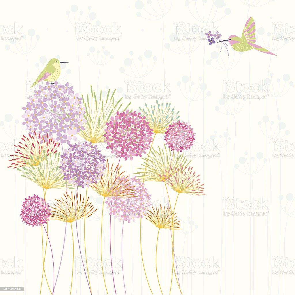 Colorful Hummingbird and Flower vector art illustration