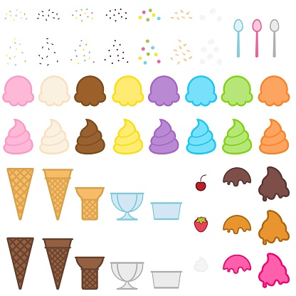 Colorful Ice Cream and Toppings Vector Illustration Set