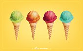 Colorful Ice cream in the cone, Different flavors, Vector eps10