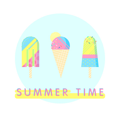 Colorful ice cream set