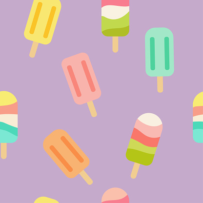 Colorful ice cream vector seamless pattern