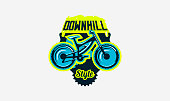 Colorful icon, emblem, mountain bike icon. Bicycle, transport, downhill, freeride, extreme, sports. T-shirt printing, vector illustration.