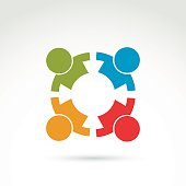 Colorful icon made of four people holding hands