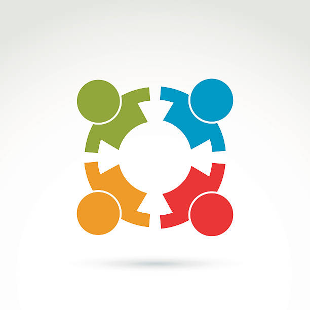 Colorful icon made of four people holding hands Teamwork and business team and friendship icon, social group, organization, vector conceptual unusual symbol for your design. stability stock illustrations