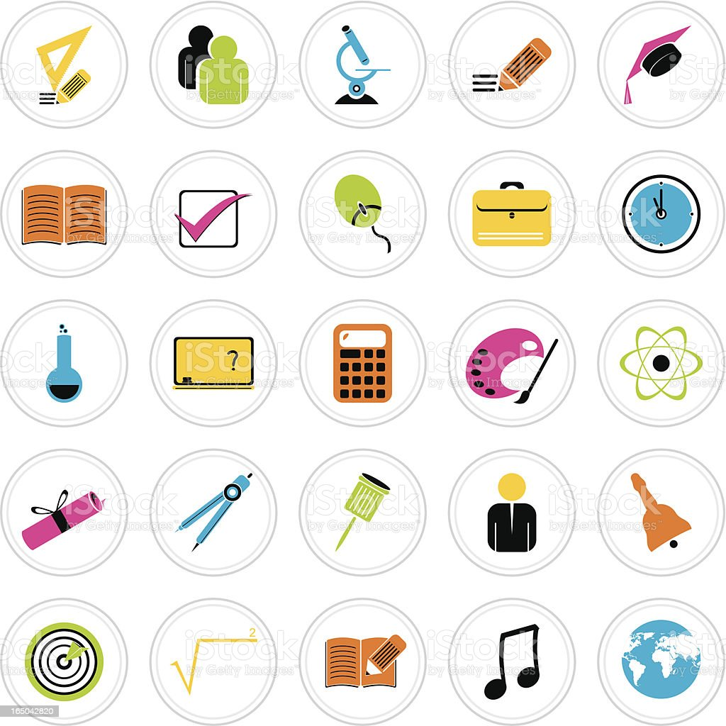 Colorful Icon Set : Education royalty-free stock vector art