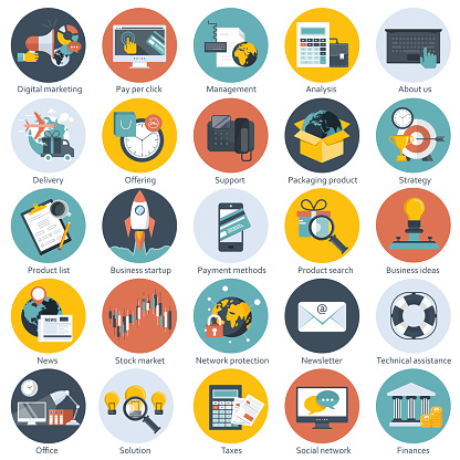 Colorful icon set for business, management, technology, finances and e-commerce. Flat objects for websites and mobile applications