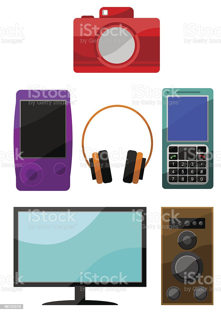 Colorful icon set of digital devices royalty-free colorful icon set of digital devices stock vector art & more images of audio equipment