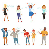 Colorful icon set with loudly laughing people at funny joke. Cartoon men and women characters in casual clothes. Hahaha text. Full-length portraits. Flat vector design isolated on white background.