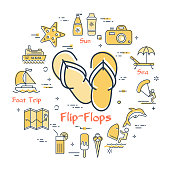 Colorful icons in summer holidays - flip-flops