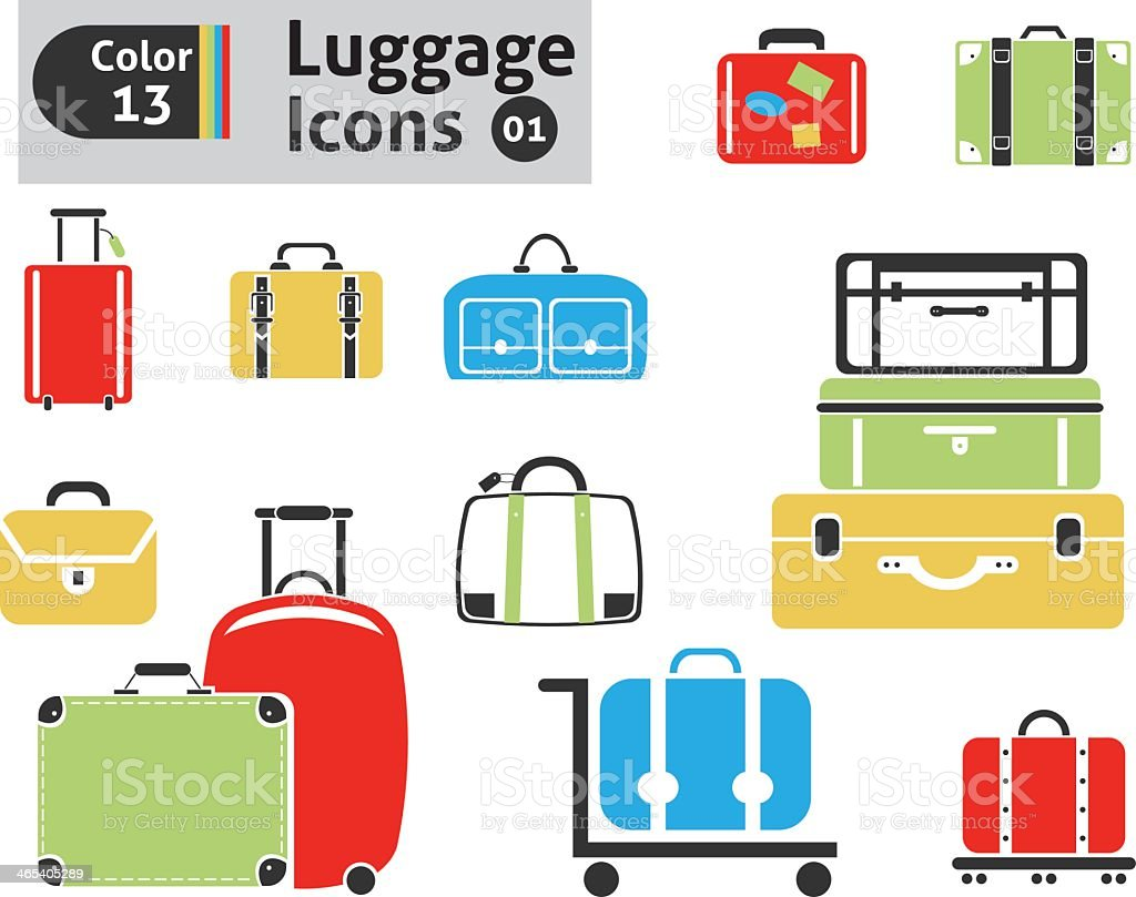 Colorful icons of different types of luggage vector art illustration
