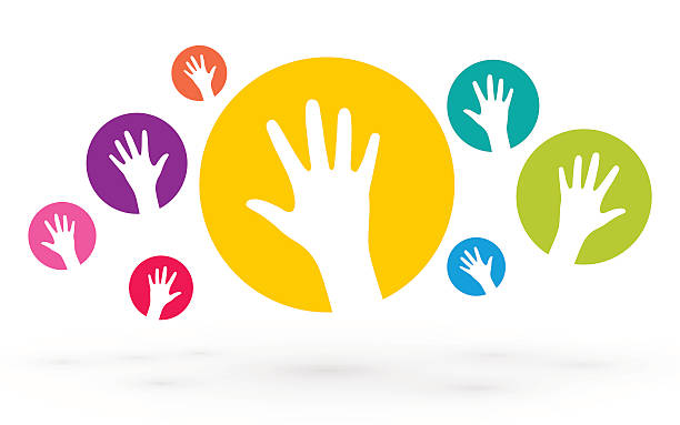 colorful icons of human hands - handabdruck stock-grafiken, -clipart, -cartoons und -symbole