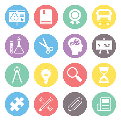 Colorful icons related to education