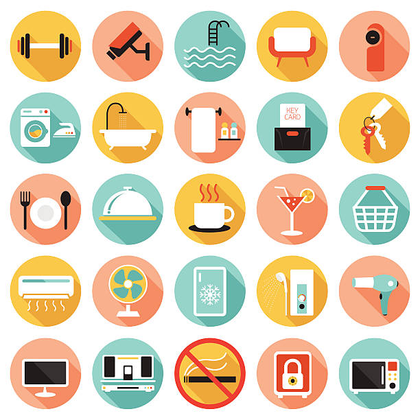 hotelzimmer annehmlichkeiten und dienstleistungen-icons set b - mittel stock-grafiken, -clipart, -cartoons und -symbole