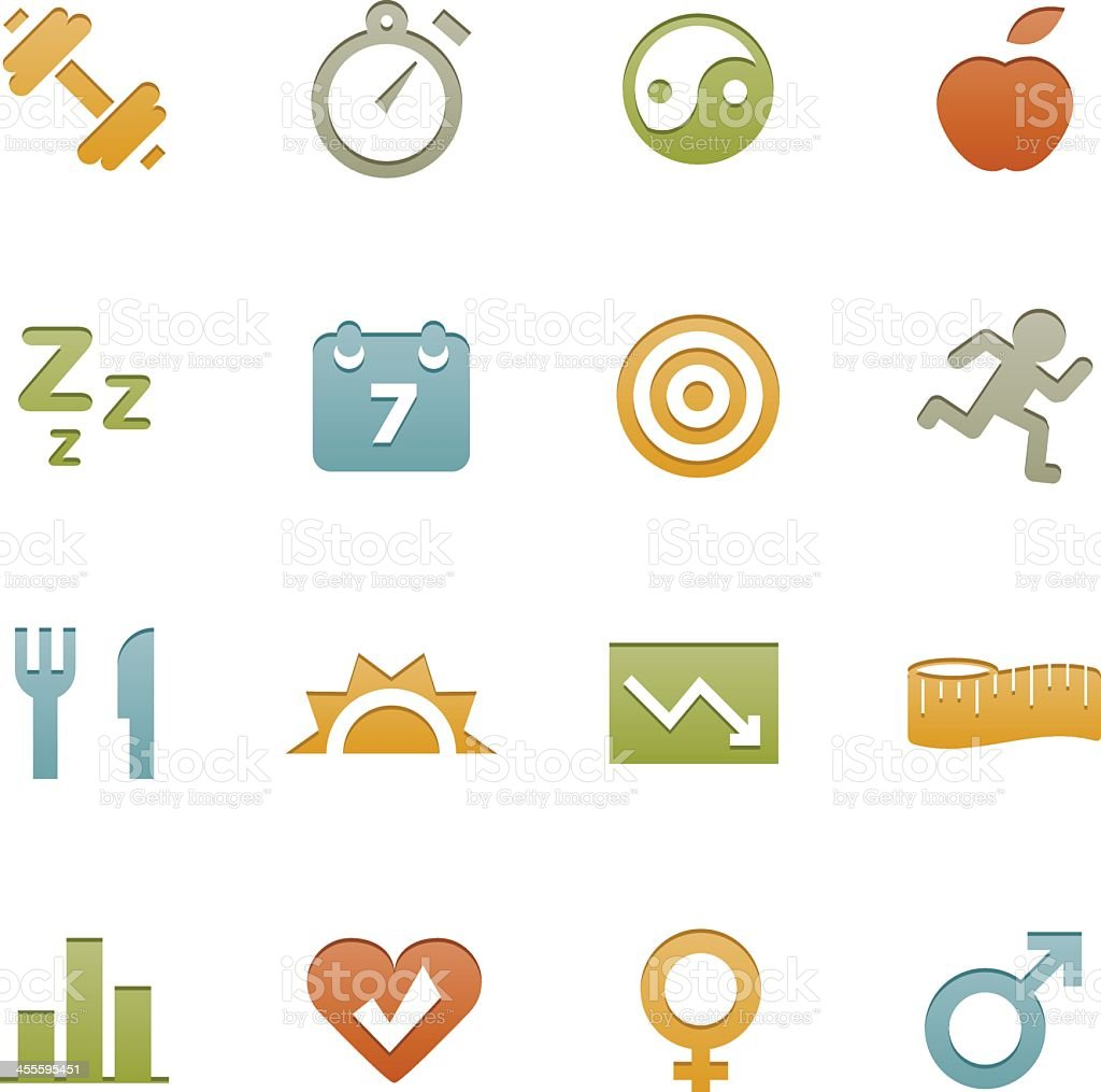 Colorful icons representing basics of health and fitness  royalty-free stock vector art