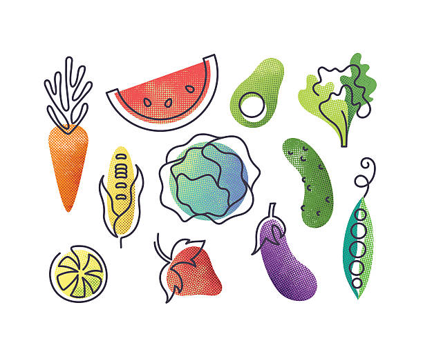 Colorful icons' set of fruits and vegetables. Colorful vector icons' set of fruits and vegetables. Isolated creative design healthy life objects. Vegetarian and vegan food halftone textured and monoline symbols' pack. No gradients. avocado patterns stock illustrations