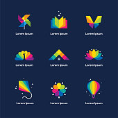 Bright colorful icons set with book, windmill toy, butterfly, peacock, house roof, lotus flower, kite and air balloon isolated on dark blue background. Vector symbol for children, kids design concept.