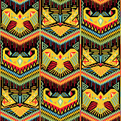 Ornate ethnic ornament with different tribal style shapes. Abstract bohemian repeatable pattern. Repeat multicolored fashion design. Vector illustration.