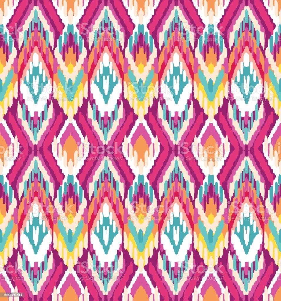colorful ikat stripes print - seamless background vector art illustration