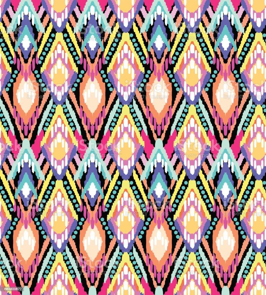 colorful ikat stripes print ~ seamless background colorful ikat stripes print seamless background - immagini vettoriali stock e altre immagini di arcobaleno royalty-free