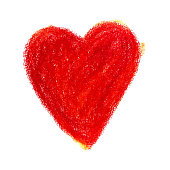 Vector colorful illustration heart shape drawn with red colored pencil child drew isolated on white background