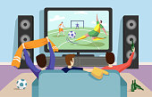 This illustration shows young people watching a football soccer match on TV