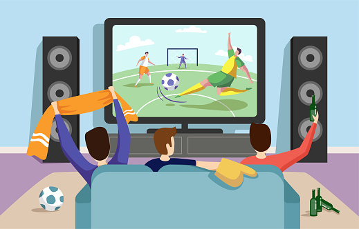 Colorful illustration of a football soccer match