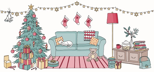 Colorful illustration of a living room with Christmas decoration