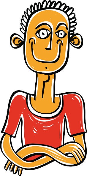 Colorful illustration of a man in a red T-shirt