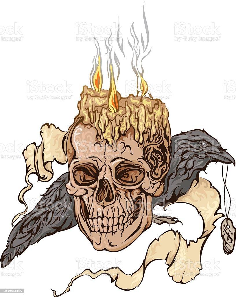 Ilustração colorida de um crânio - ilustração de arte em vetor