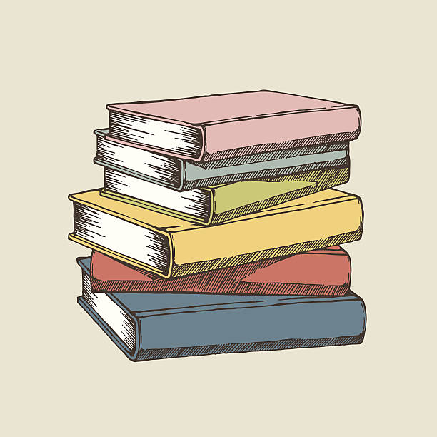 A colorful illustration of a stack of books Vector illustration of books. EPS8, AI10, high res jpeg included. book drawings stock illustrations