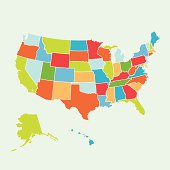 Colorful illustration of a United States map