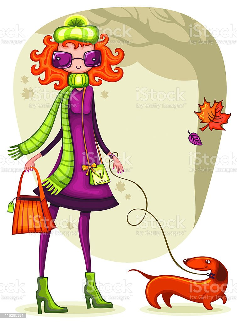 Colorful illustration of a woman walking a dachshund royalty-free stock vector art