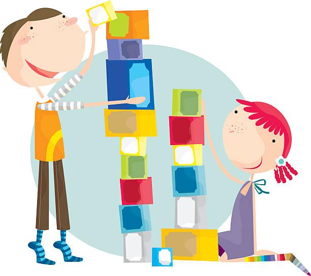 Colorful illustration of boy and girl using building blocks vektorkonstillustration