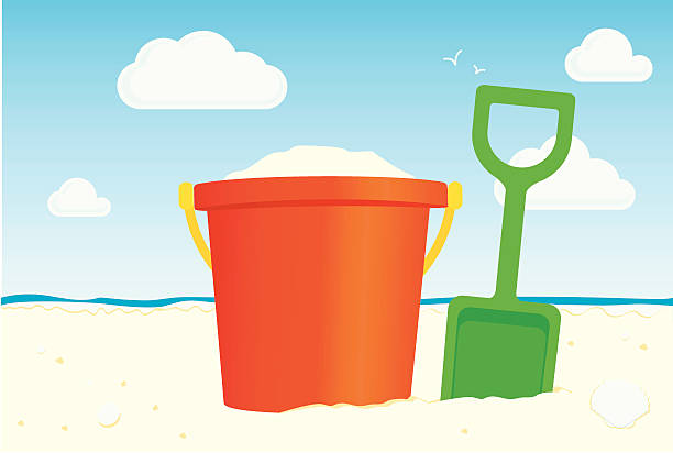Colorful illustration of bucket and spade on the sandy beach vector art illustration