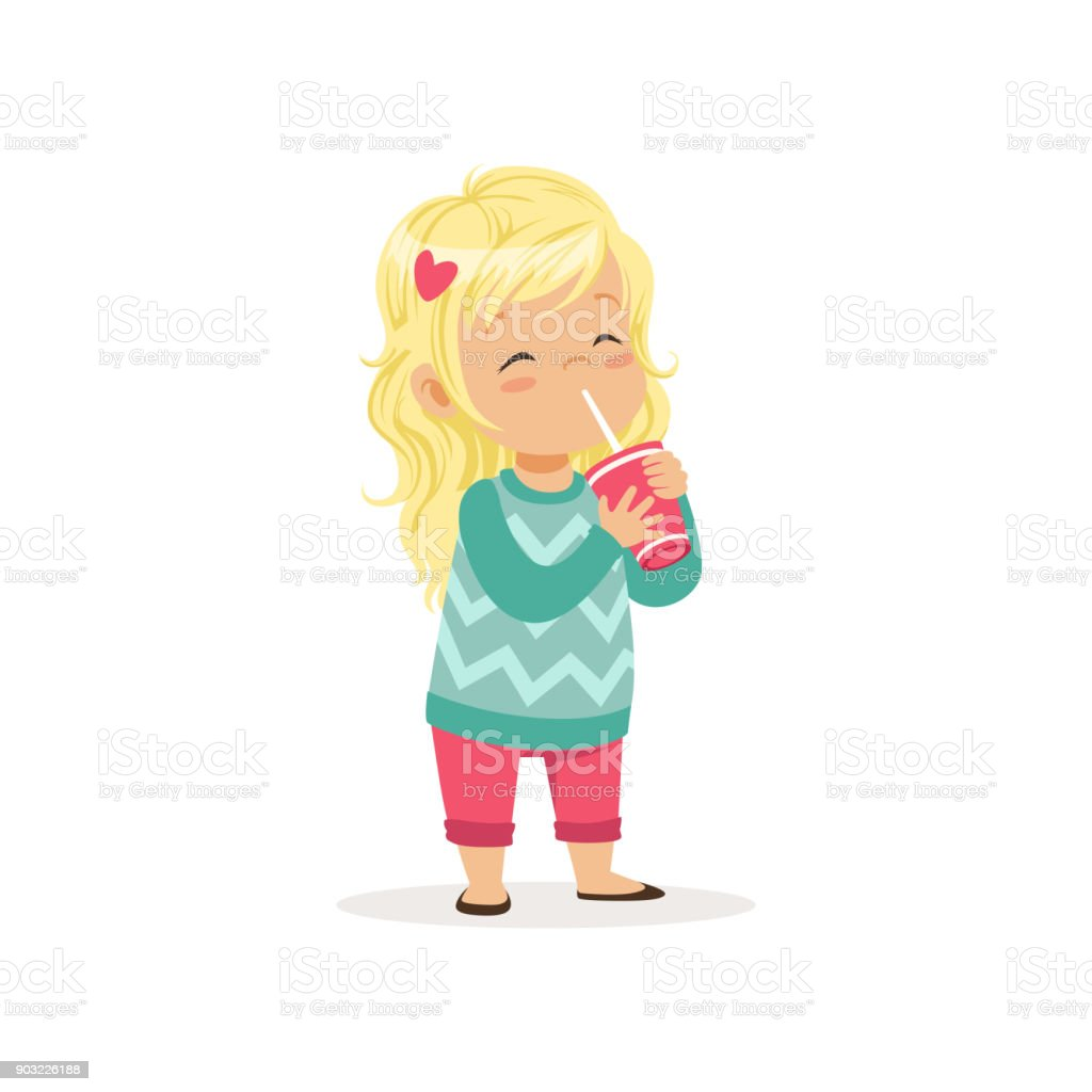 Colorful illustration of cute blond girl with cup of sweet refreshing drink. Cartoon little child character in pink pants and turquoise sweater. Flat vector design vector art illustration