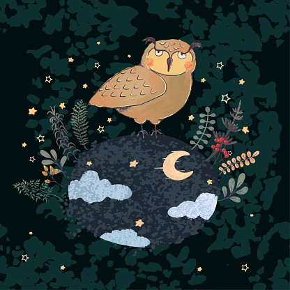 Colorful illustration of cute owl