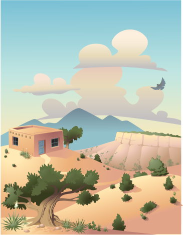 Landscape in the U.S. Southwest, with small adobe house. PDF included.