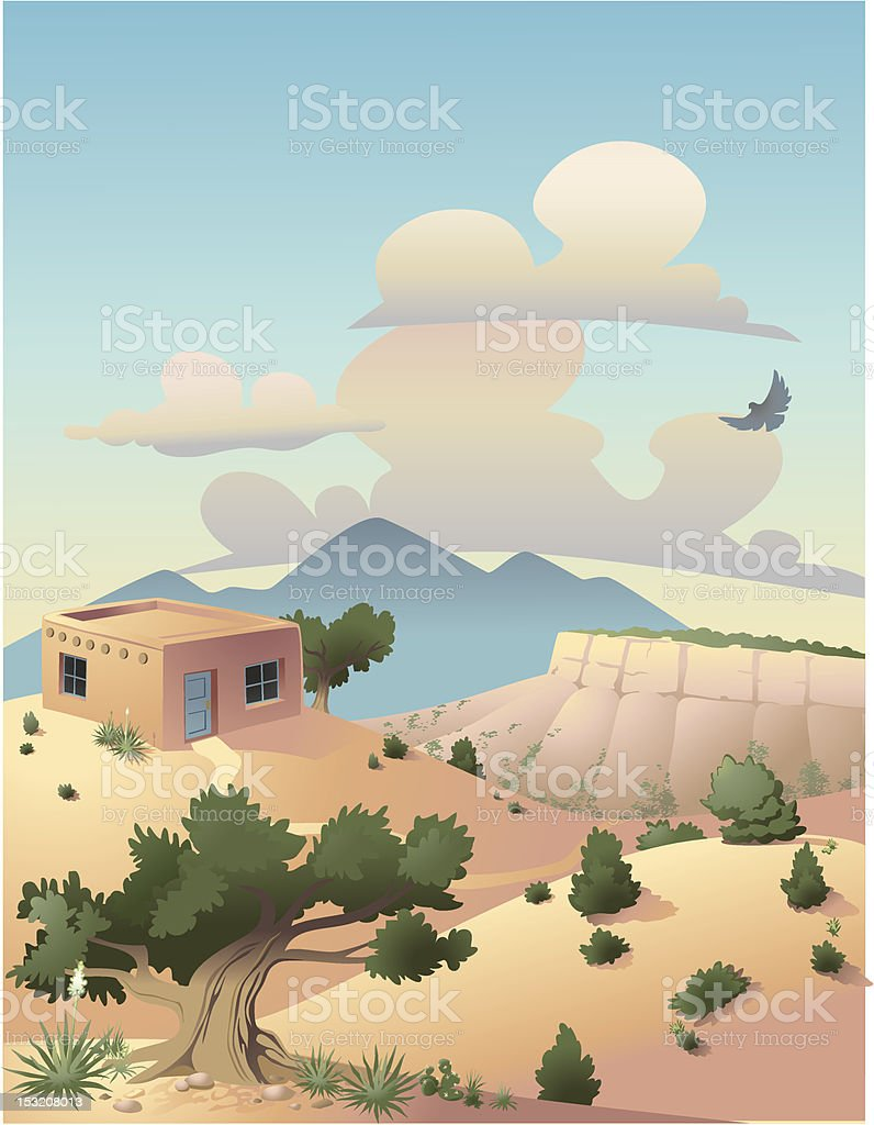 Colorful illustration of desert and mountain scene vector art illustration