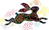 Colorful illustration of jumping rabbit