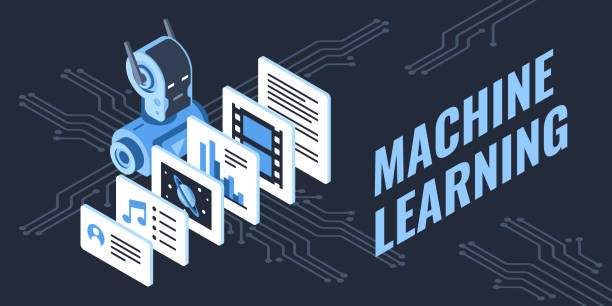 Colorful illustration of machine learning process This illustration shows media icons and a robot that's processing and learning the new information machine learning stock illustrations